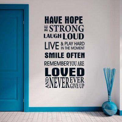 """Adesivo Murale - Hope, la speranza.  Adesivo murale di alta qualità con pellicola opaca di facile installazione. Lo sticker si può applicare su qualsiasi superficie liscia: muro, vetro, legno e plastica.  L'adesivo murale """"Hope"""" è ideale per decorare soggiorno e camera da letto. Adesivi Murali."""