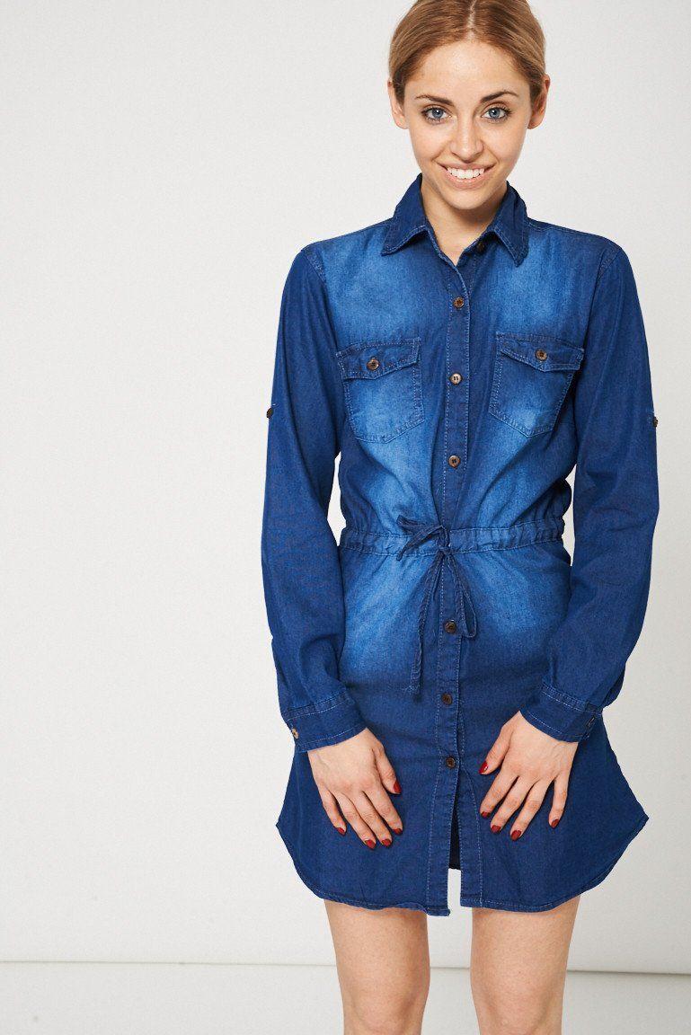 Blue Denim Midi Shirt Dress Ex-Branded