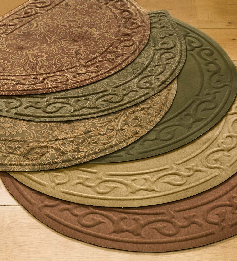 Low Profile Microfiber Half Round Rug Looks Beautiful Almost Anywhere At Your Entry In Front Of Your Sink By The Hearth Durable Hearth Rug Round Rugs Rugs