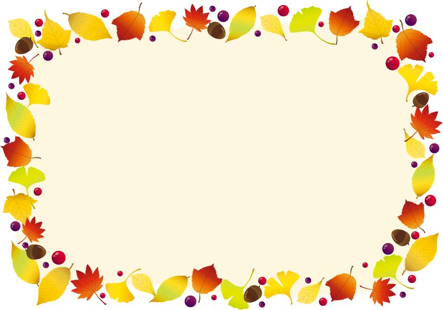 フリーイラスト 落ち葉とどんぐりの秋の飾り枠でアハ体験