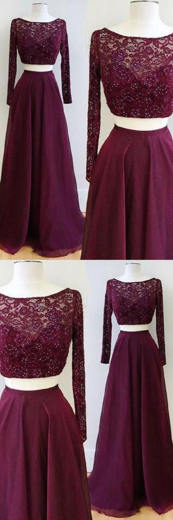 7d12e406acfe9 Two Piece Burgundy Bateau Long Sleeves Floor-Length Prom Dress with Lace  Beading Prom Dresses Two Piece, Lace Prom Dresses, Prom Dresses, Prom  Dresses With ...