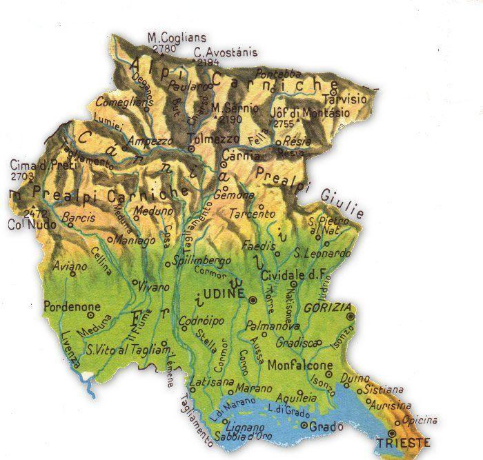 Cartina Topografica Venezia.Cartina Geografica Friuli Venezia Giuglia Venezia Geografia E Mappe