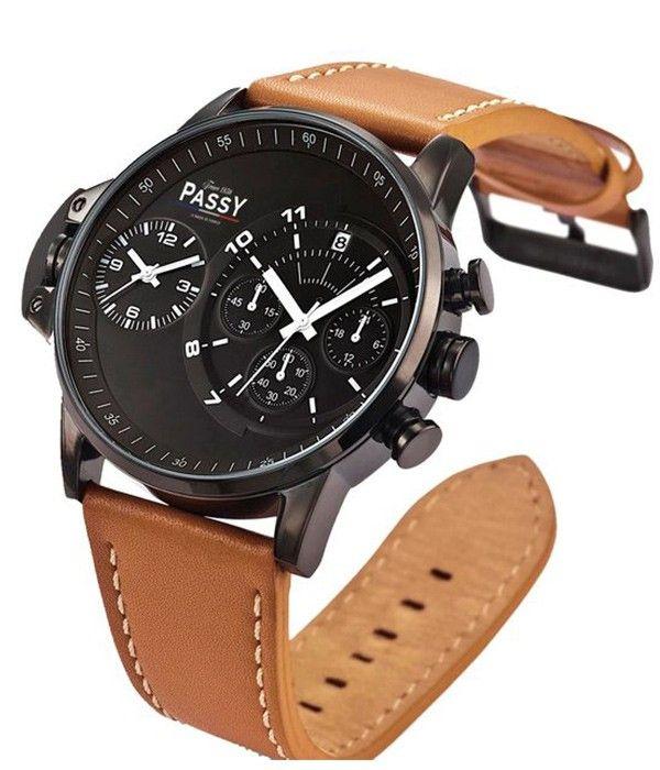 montre homme bracelet en cuir marron double cadran montre auteuil passy watches we love. Black Bedroom Furniture Sets. Home Design Ideas