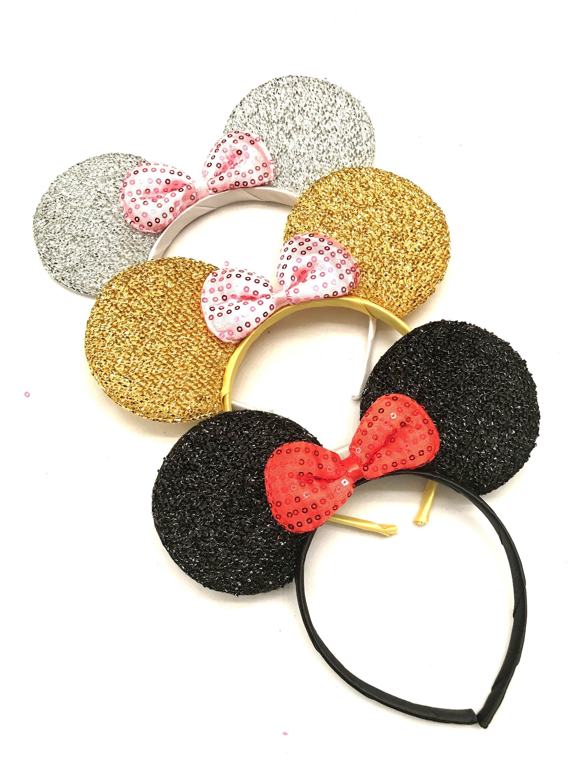 Disney Mickey Mouse Inspired Mermaid Sequin Hair Clip Bow Gold Pink Black Red