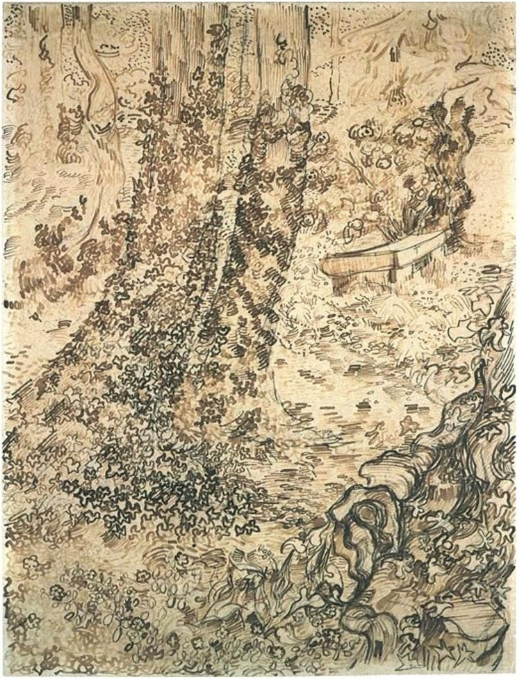 Vincent van Gogh Trees with Ivy Drawing. One of my favourite pieces but cannot buy it ANYWHERE!