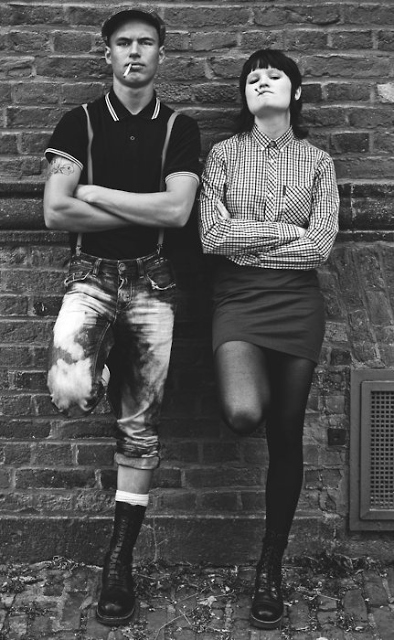 Traditional skinheads Fred perry, ben sherman, braces, docs, bleach tie jeans. Working class pride world wide!