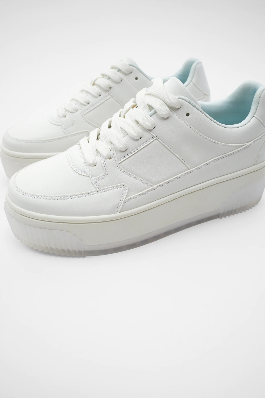 zara platform sneakers white