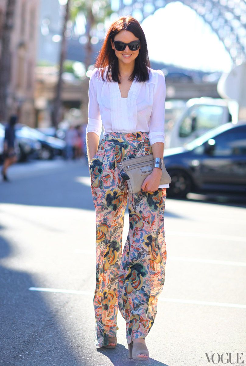 floral printed pants and white blouse
