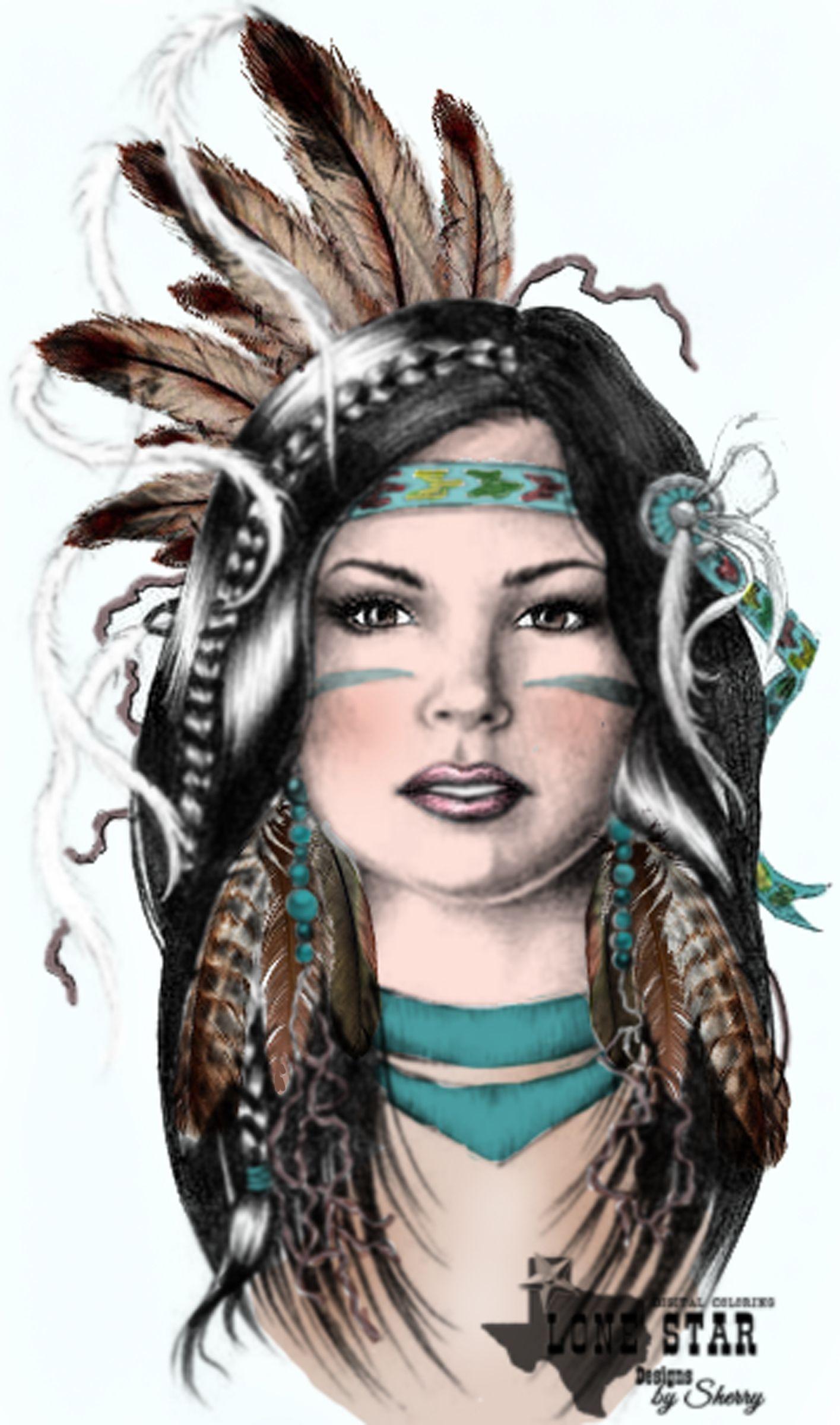 Digital Coloring by Sherry disegni indianinativi americani