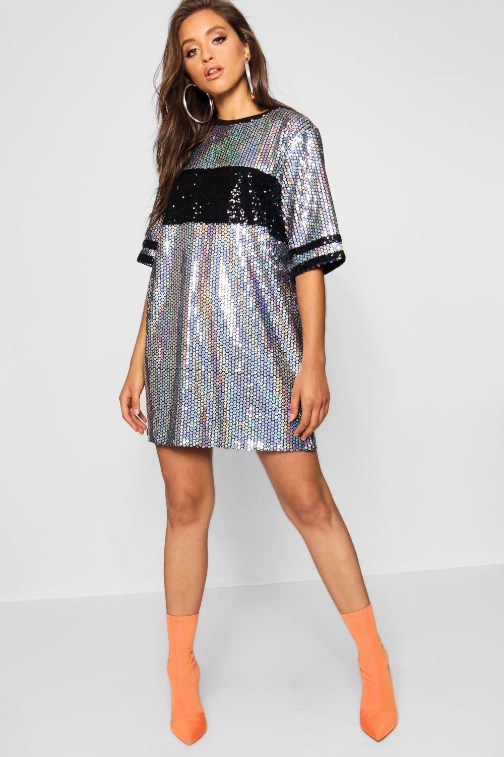 a2a8657f828 Click here to find out about the Sequin Panel Oversized T Shirt Dress from  Boohoo