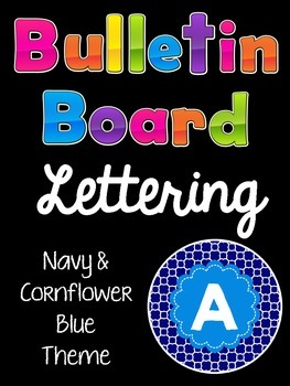 Bulletin Board Letters Navy and Cornflower Blue