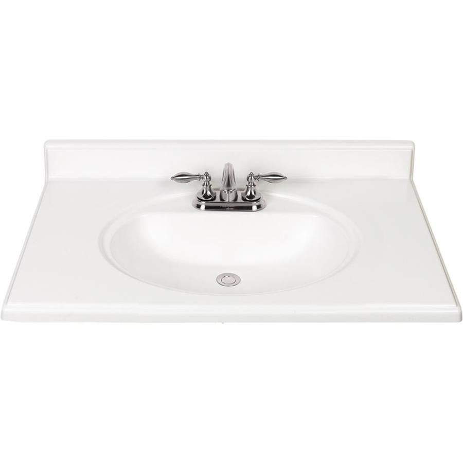 White Cultured Marble Integral Bathroom Vanity Top (Common: 37-in x ...