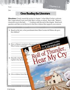 Roll Of Thunder Hear My Cry Close Reading And Text Dependent