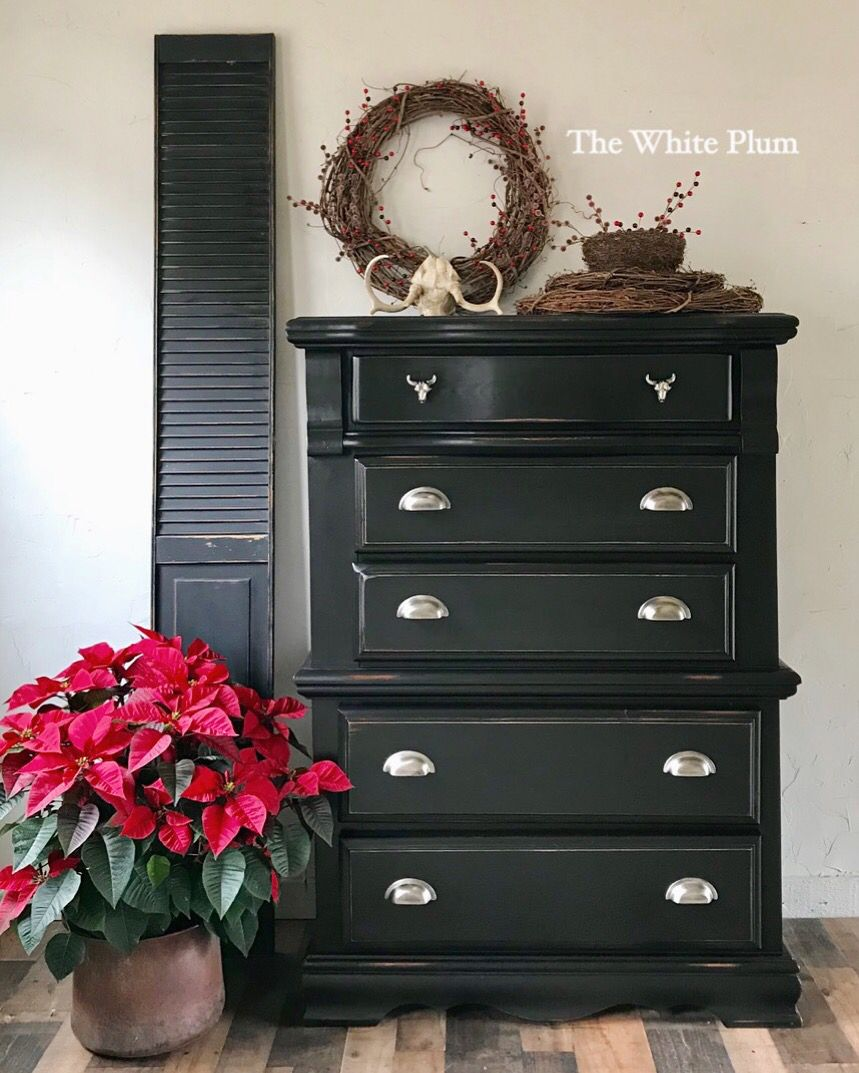vintage dresser makeover with dixie belle paint in caviar matte rh pinterest com