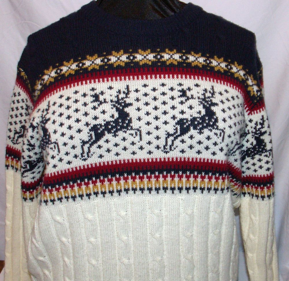 Vintage 70's Steep Slopes Alpine deer Ski Sweater L Mens Nordic ...