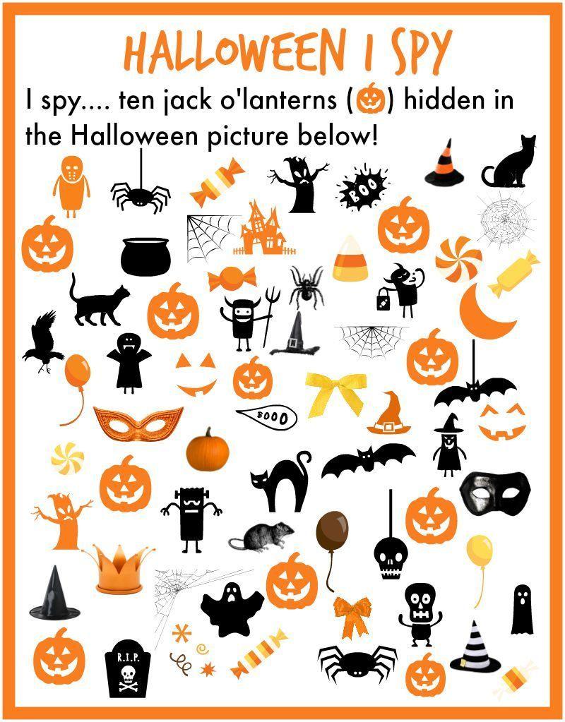 I Spy Halloween Printable Find 10 Pumpkins Hidden In The Halloween Picture Free Printable Halloween Preschool Halloween Activities For Kids Halloween School [ 1023 x 800 Pixel ]