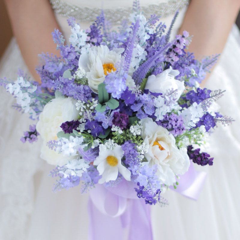 Cheap Flower Bouquet Wedding Buy Quality Bouquet Wedding Directly From China Weddi Lavender Wedding Bouquet Wedding Bouquets Bride Artificial Wedding Bouquets