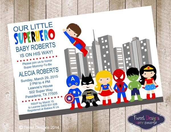 B064 Superhero Baby Shower Invitation baby shower Pinterest - email baby shower invitation templates