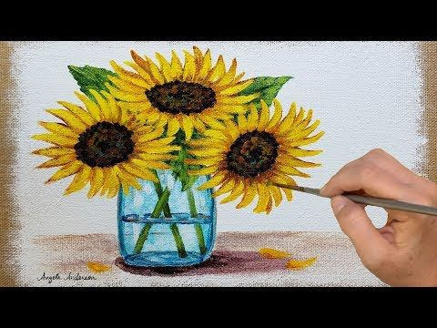 Sunflower Painting Tutorial Free Easy Acrylic Painting