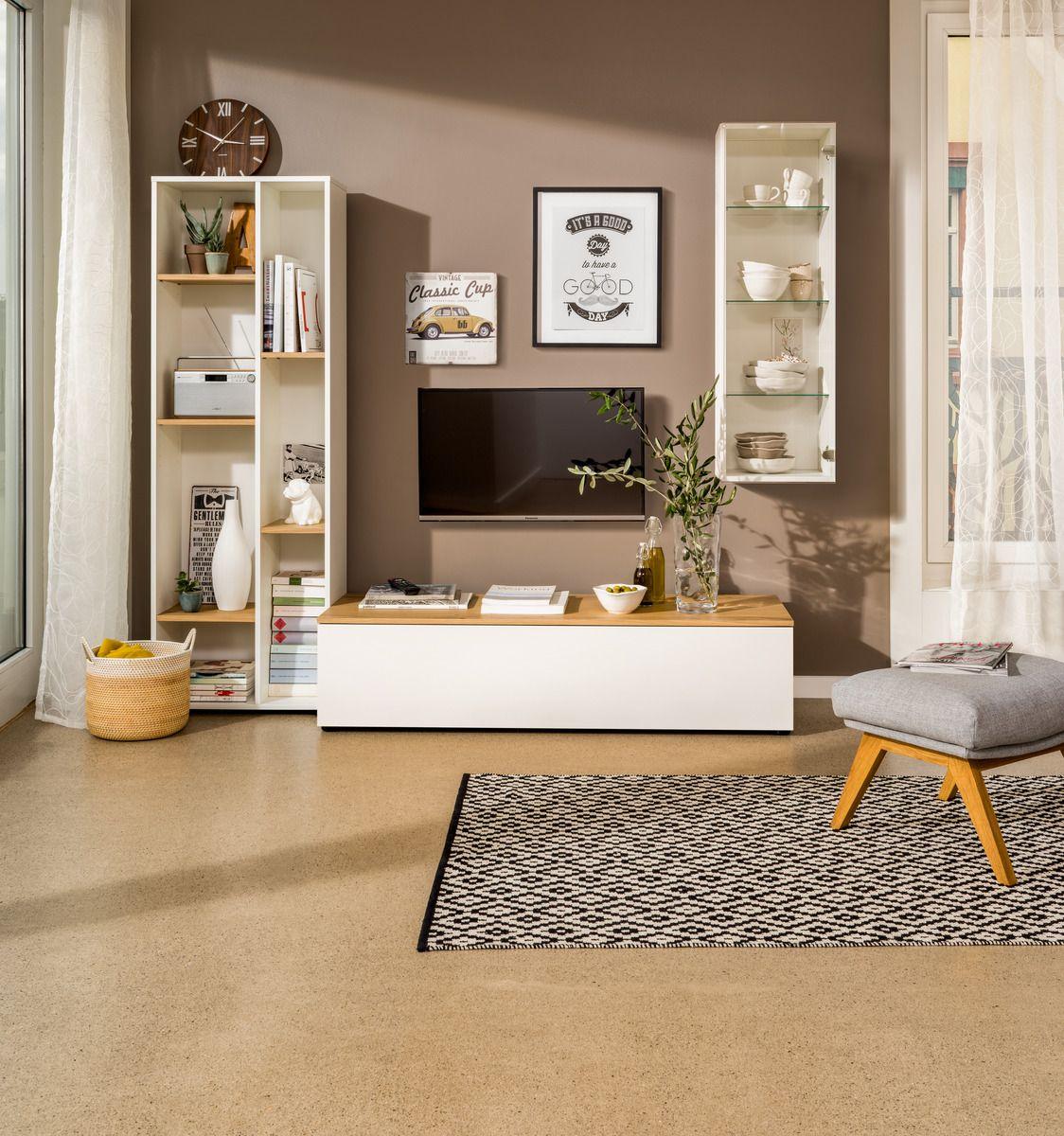 micasa wohnzimmer mit wohnsystem tell und teppich kathrin | micasa, Mobel ideea