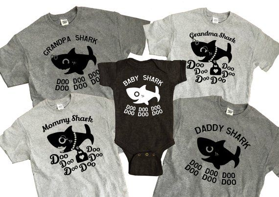 09804751 Baby Shark Family DIY iron on transfer ONE image Mommy Daddy Baby Grandma  Grandpa sharks cute doo doo doo song aquarium zoo matching outfit
