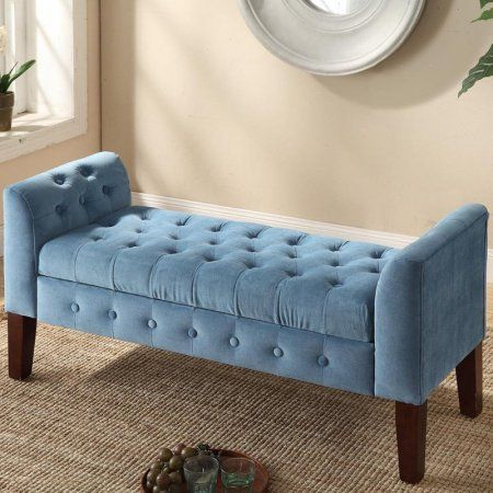 Velvet Tufted Storage Bench And Settee Blue