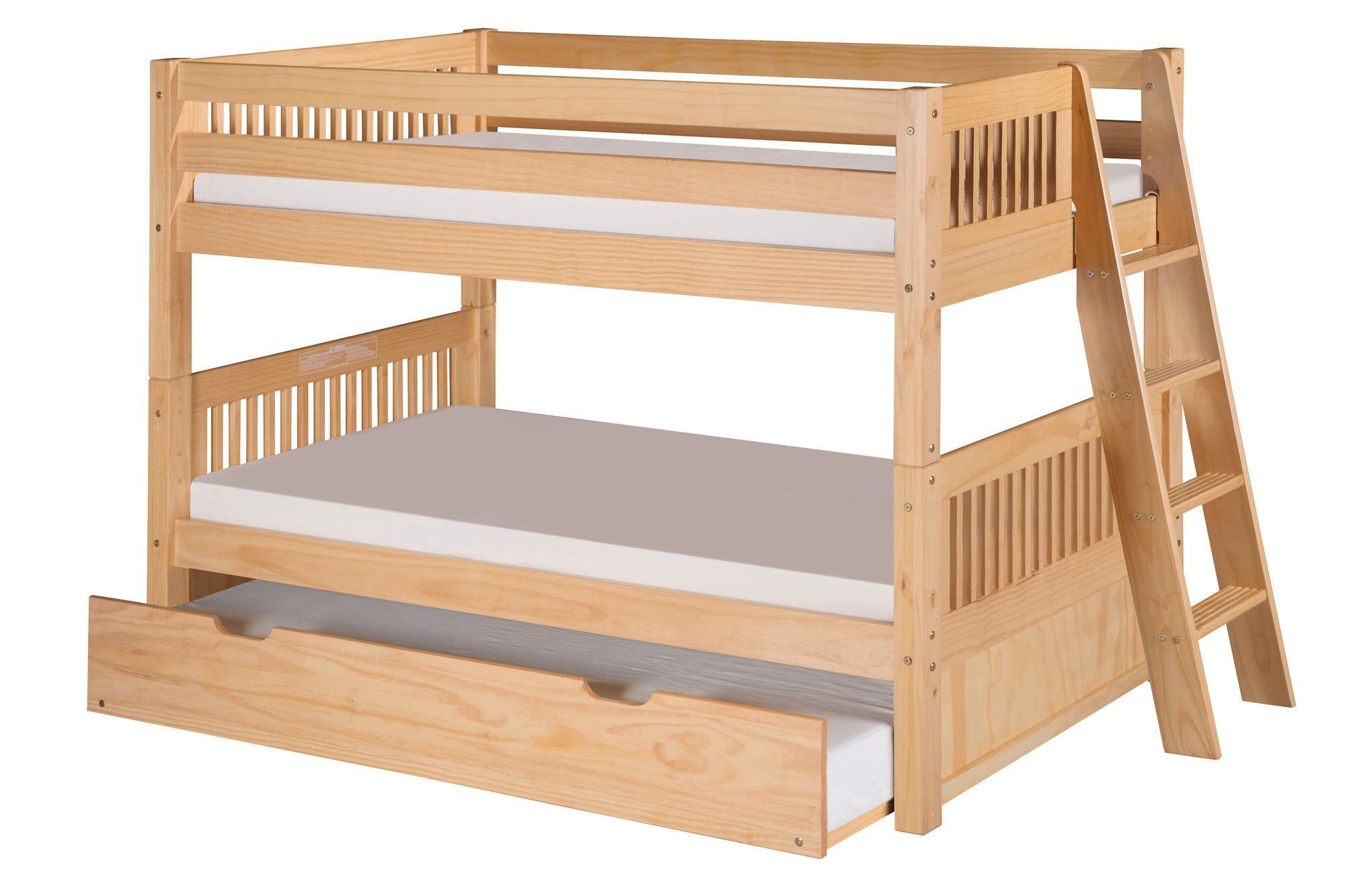 Tall loft bed with slide  Camaflexi Low Bunk Bed Lateral Angle Ladder with Twin Trundle