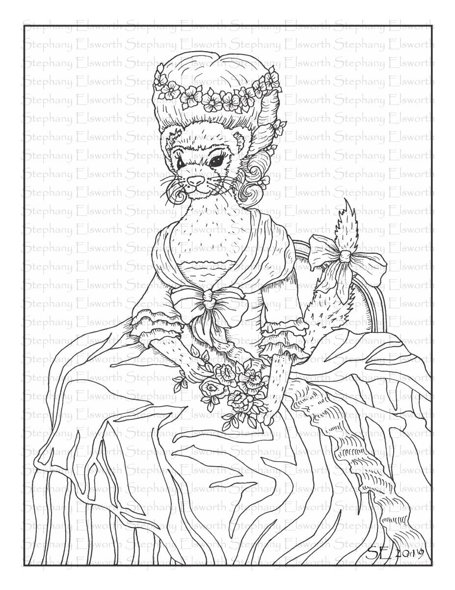 Olive Duchess Of Dook Printable Ferret Coloring Page Coloring