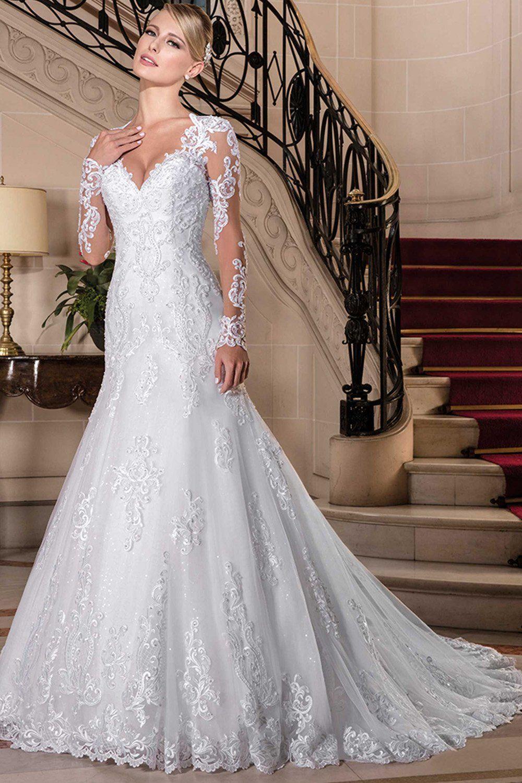 Weddingdresses vneck long sleeves wedding dresses with lace