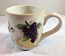 Brushes KIC Hand Painted Fruit & Acorns Cup Mug Coffee