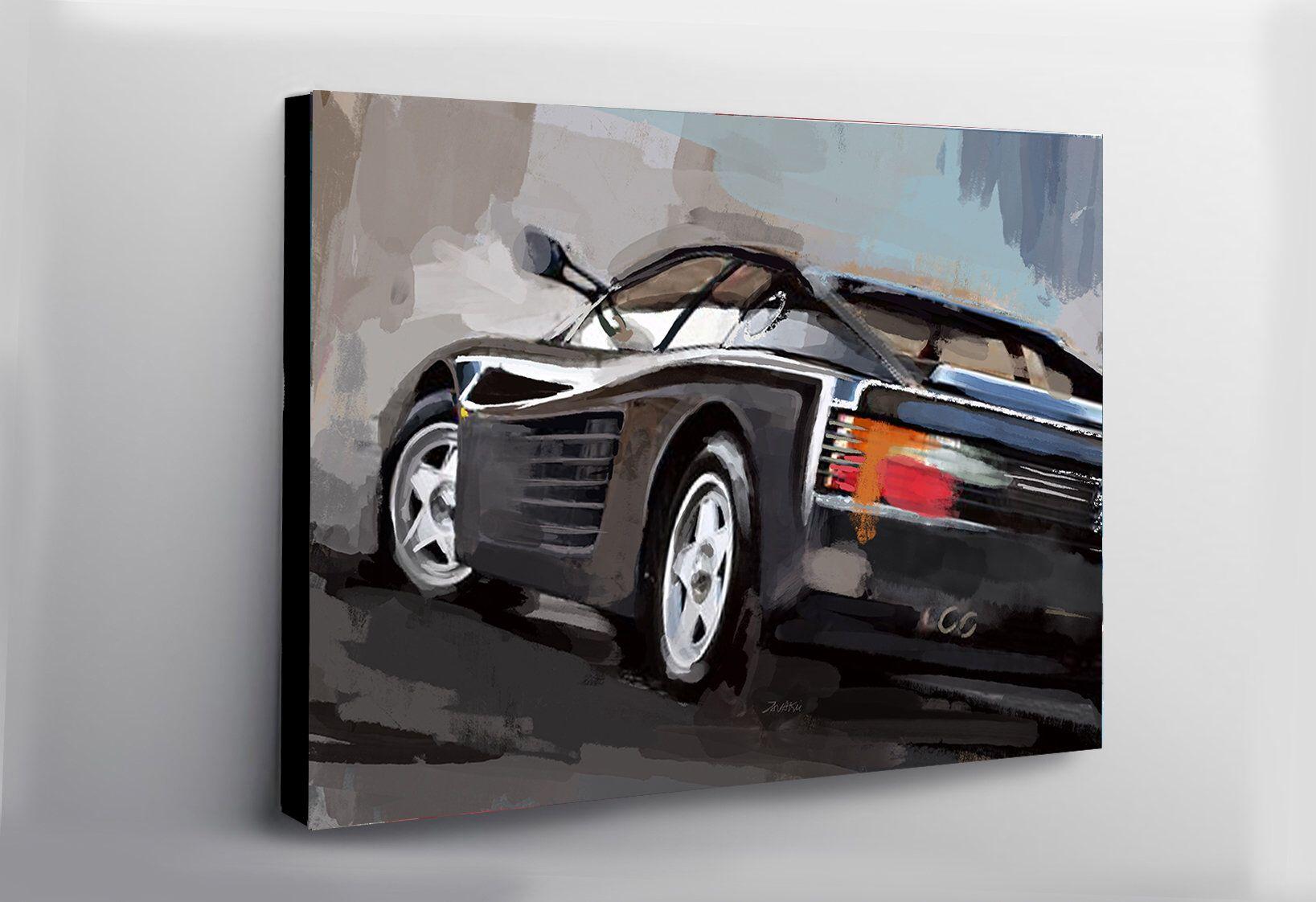 Ferrari Testarossa Black Painting Car Large Wall Decor Canvas Etsy In 2020 Automotive Art Car Painting