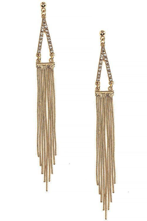 CRYSTAL LINED TRIANGLE FRINGE EARRINGS
