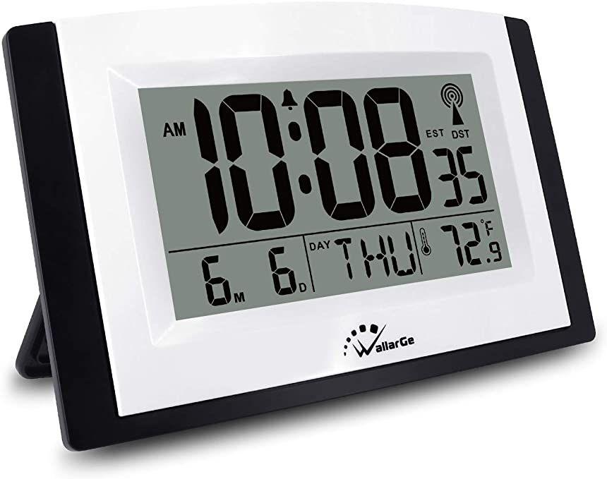 Wallarge Atomic Digital Alarm Clock With Night Light 7 6in Large Display Wall Clocks Battery Operated Calendar Alarm In 2020 Digital Alarm Clock Desk Clock Alarm Clock