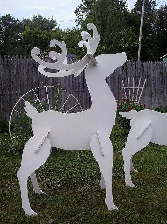 Exterior c sped blanco reno navidad madera yarda arte decoraci n c sped madera y blanco - Renne de noel en bois ...