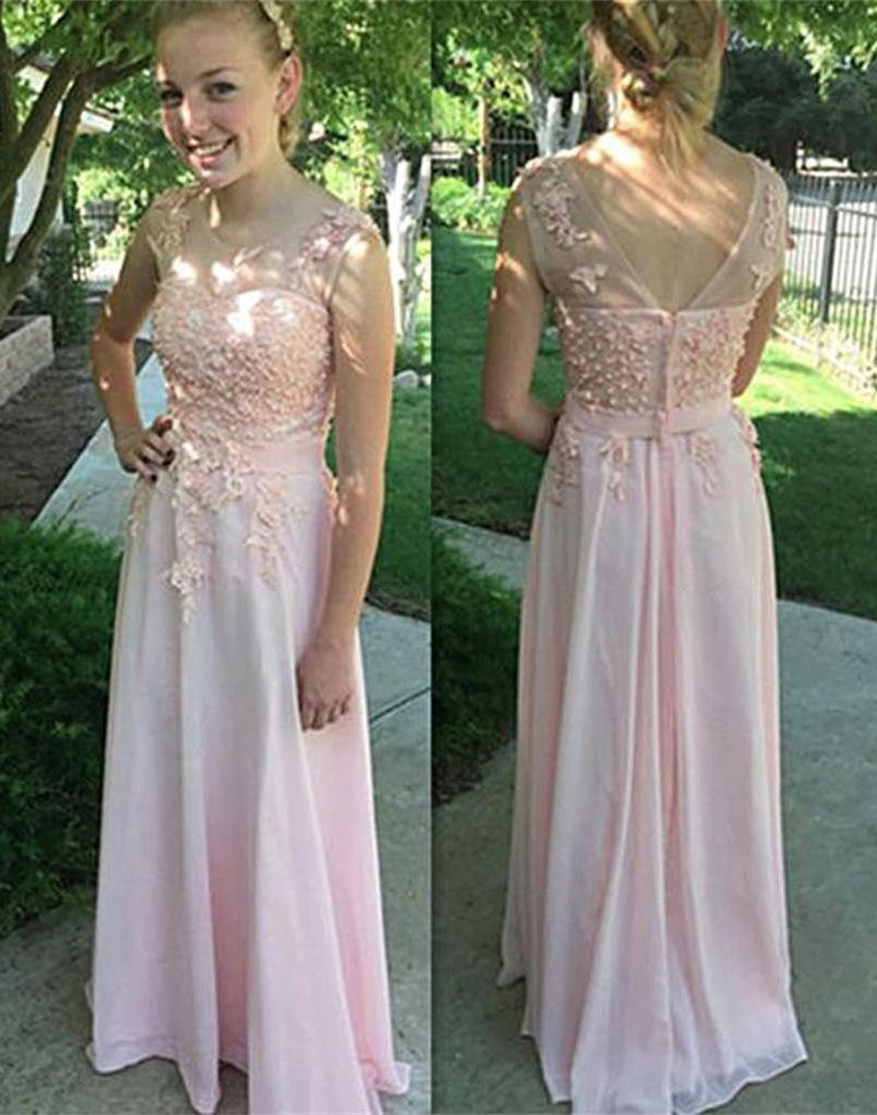 Long aline round neck sleeveless zipper appliques prom dresses