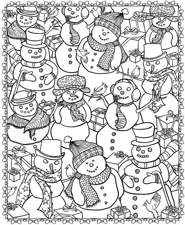 8 Christmas Coloring Pages For Adults | Colored pencils, Markers ...