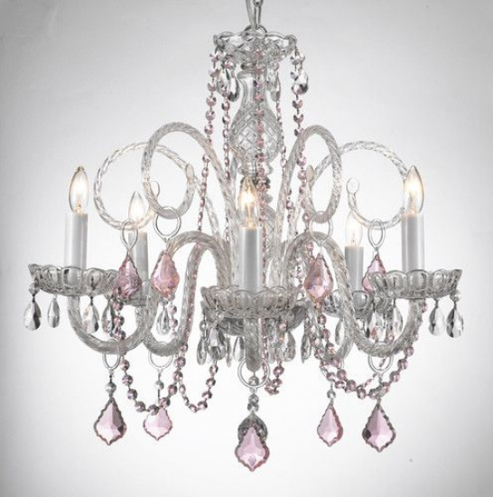 Crystal chandelier chandeliers lighting with pink color crystal crystal chandelier chandeliers lighting with pink color crystal ebay aloadofball Images