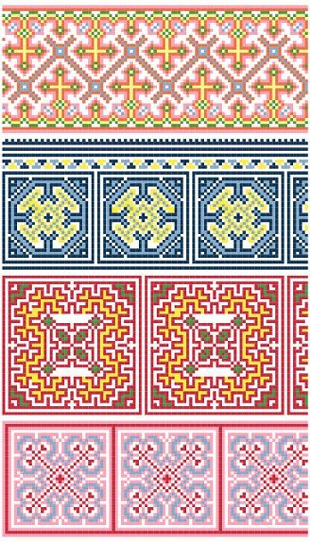 Hmong Inspired Cross Stitch Border Collection 60 PDF Pattern Knit New Hmong Pattern