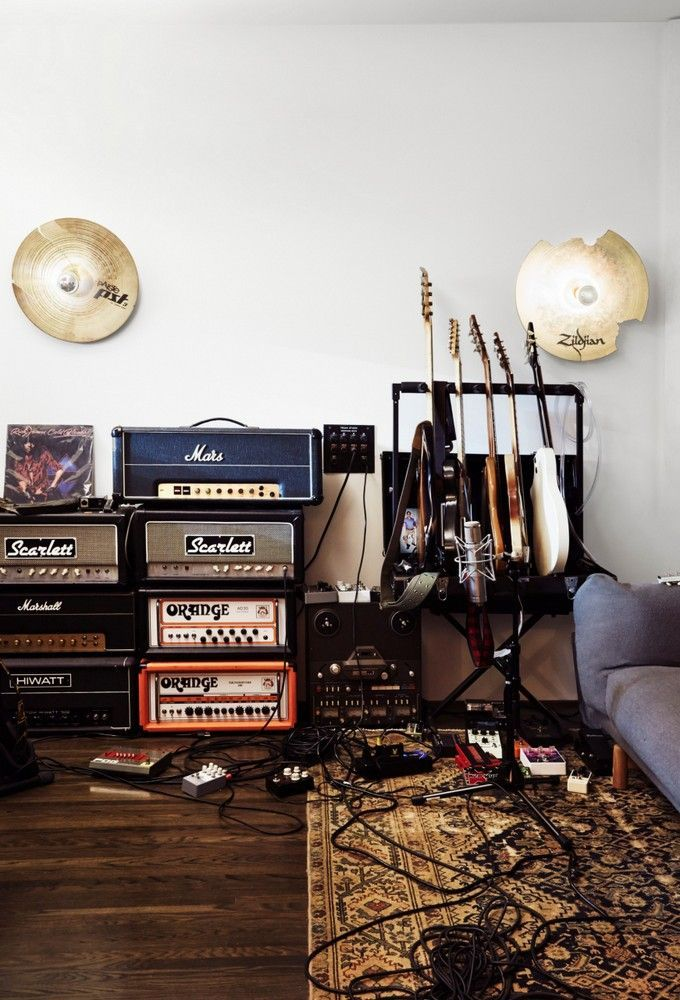 Beautiful music studio with some great guitars, amps, and pedals - p & l form