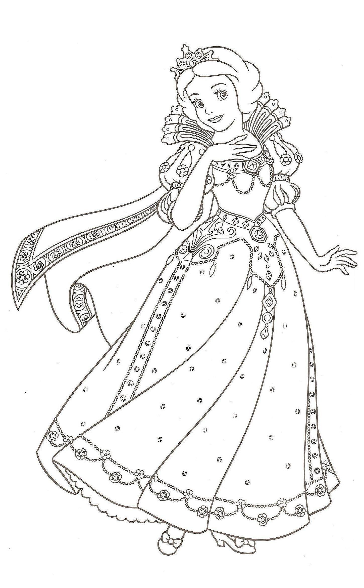 Coloriage princesse, Coloriage blanche neige, Coloriage à imprimer