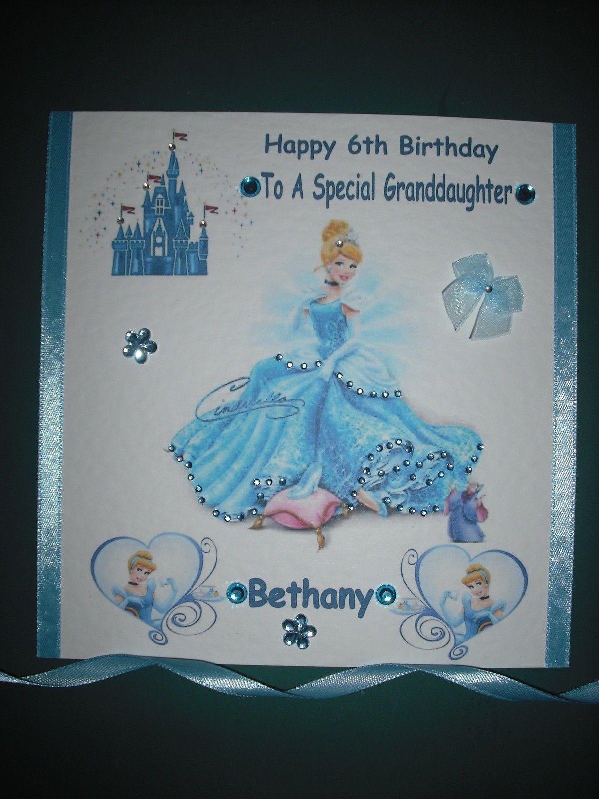Handmade Personalised Cinderella Birthday Card Free 2nd Class Postage Birthday Cards Cinderella Birthday Personal Cards