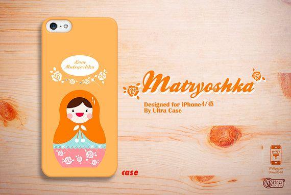 Cute iPhone 4 case matryoshka, iphone 4s case orange,  iPhone 4/4s hard case, iPhone 4 cover made with Swarovski Elements