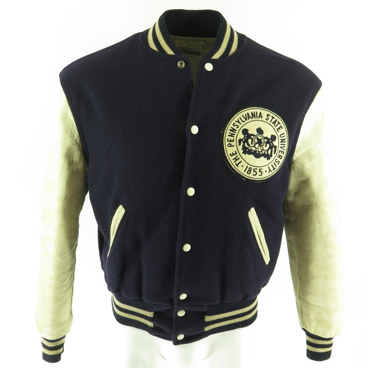 Vintage 60s Penn State Varsity Letterman Jacket Mens 40 Holloway Wool Leather The Clothing Vault Varsity Letterman Jackets Letterman Jacket Mens Jackets