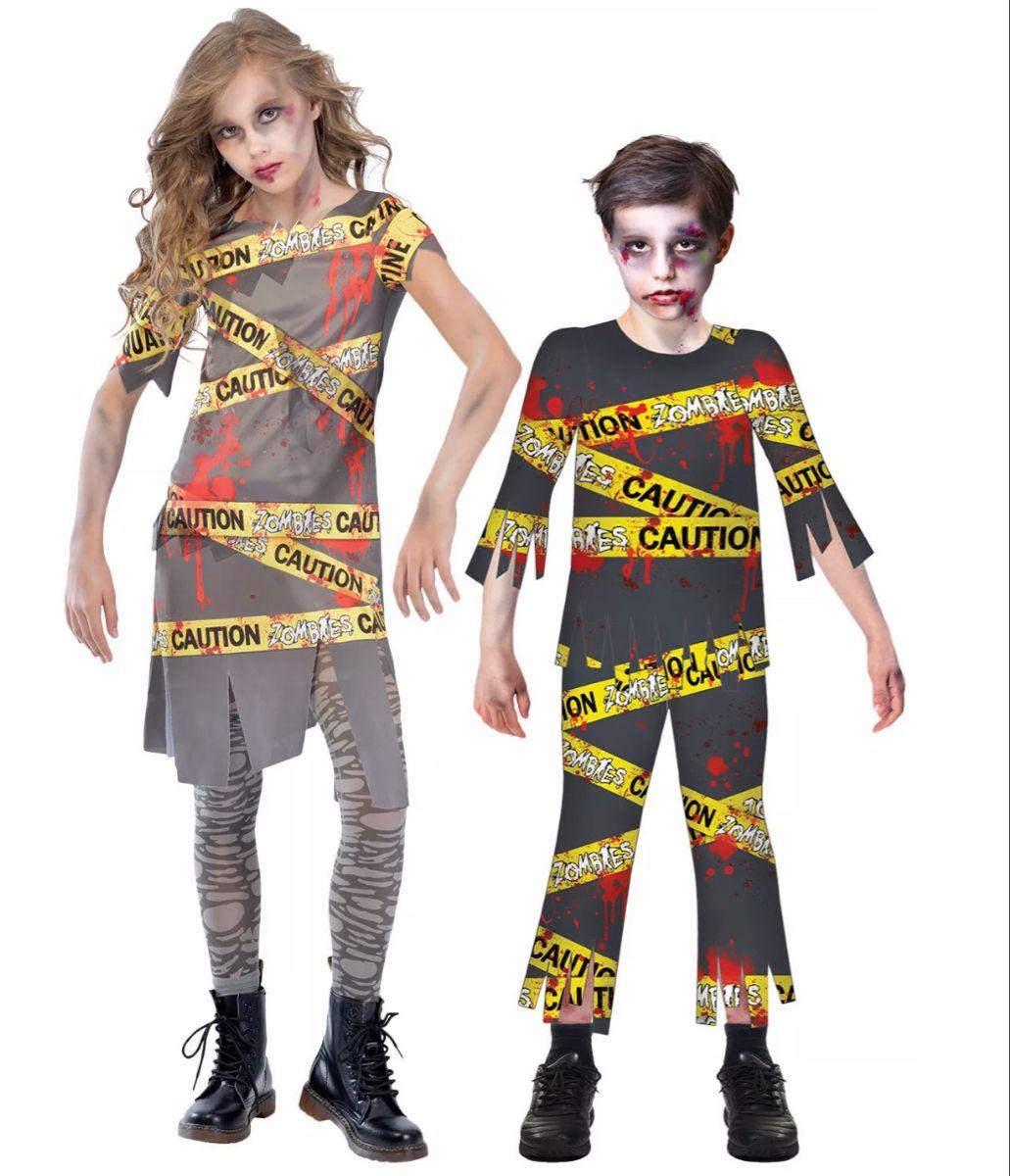 Kids caution zombie costume boys girls child halloween