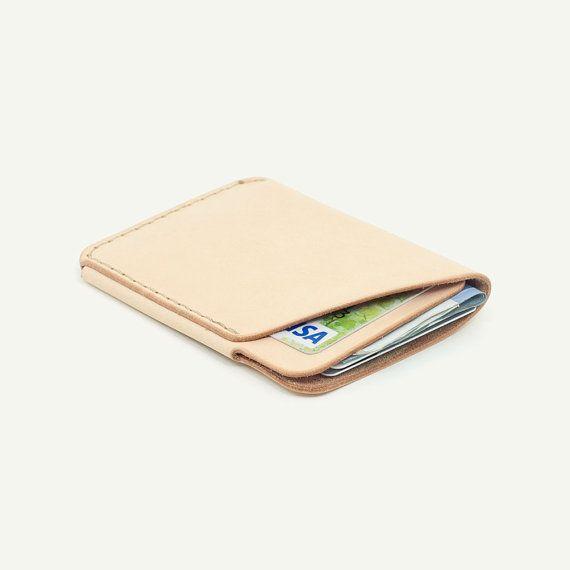 47098c4521e8 DHK GOODS 2-Pocket Card Wallet - Natural vegetable tanned leather. Handmade  leather card holder