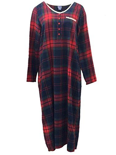 Laura Scott Womens Red Plaid Flannel Nightgown Sleep Shirt Night