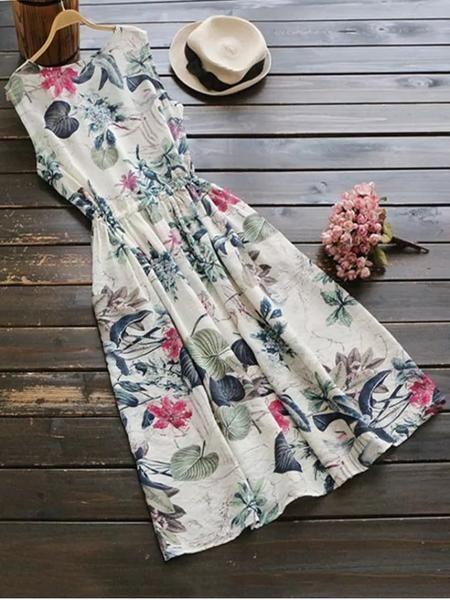 Pretty Sleeveless Drawstring Floral Midi Dress