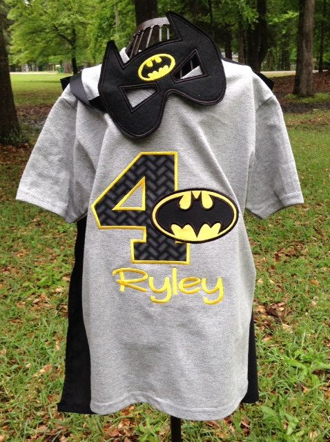 Batman Birthday Shirt With Matching Mask Onesie Or Party Favor Superhero Cape Is Separate