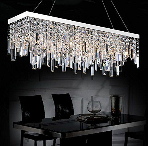 Moooni Contemporary Rectangle Crystal Chandelier Modern H Https Www Crystal Chandelier Dining Room Dining Room Chandelier Modern Modern Crystal Chandelier