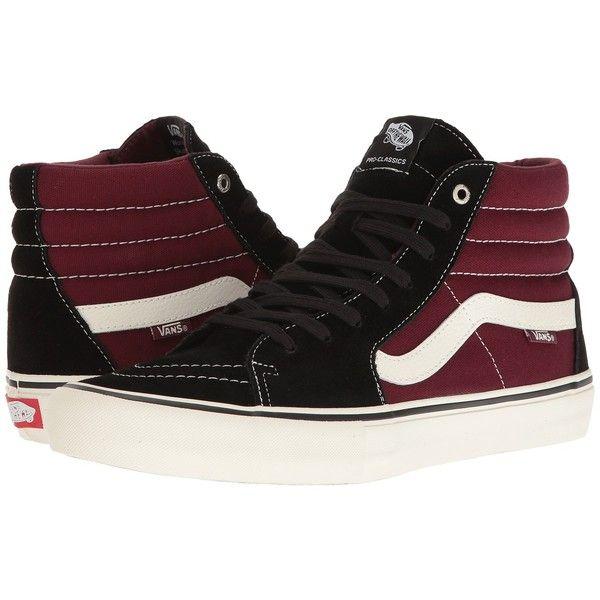 Vans SK8-Hi Pro (Black/Port) Men's Skate Shoes ($70)